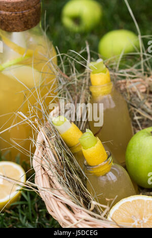 Refreshing lemonade with apple and lemon in a picnic basket. Cold summer drinks in garden - Stock Photo