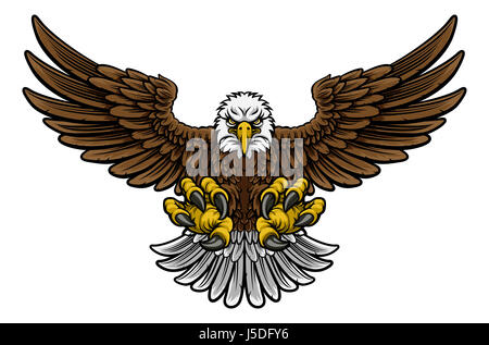 A cartoon bald American eagle mascot swooping with claws out and wings outstretched spread - Stock Photo