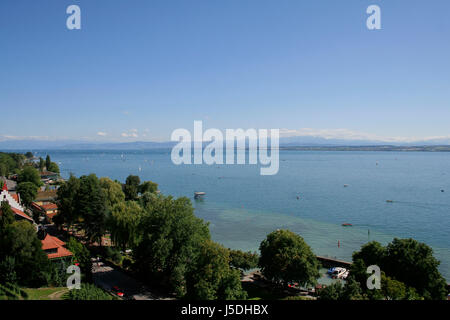 view of meersburg and lake constance - Stock Photo