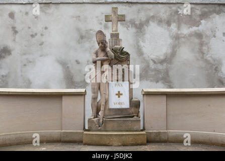 Memorial on the burial place of human remains transferred from the Karlín Military Cemetery at Olšany Cemetery in - Stock Photo