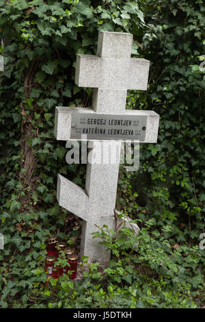 Grave of Russian boy Sergej Leontjev on the burial ground for the orthodox people at Olšany Cemetery in Prague, - Stock Photo