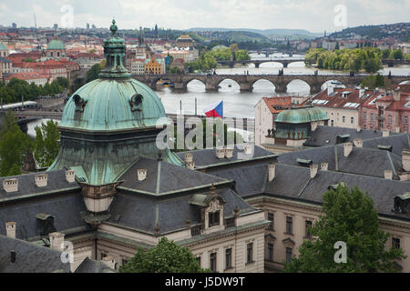 Charles Bridge and other bridges over the Vltava River pictured from the garden of the Villa Kramář (Kramářova vila) - Stock Photo