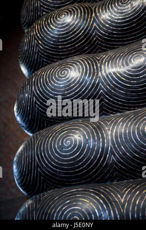 Fingerprint patterns on the toes at the bottom of the sacred feet of the Reclining Buddha in Bangkok, Thailand - Stock Photo