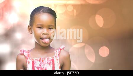 Digital composite of Little girl teasing over bokeh - Stock Photo