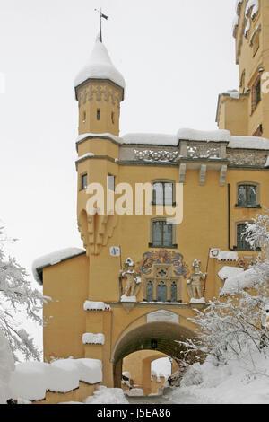 winter bavaria frozen pinnacle emblem battlement emperor king germany german - Stock Photo