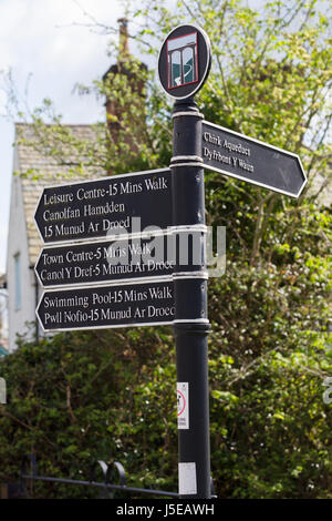 Tourist information sign near the canal aqueduct giving directions and distances to various attractions and amenities - Stock Photo