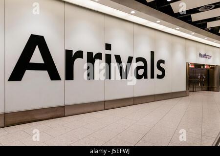 The Arrivals Hall, Terminal 4, Heathrow Airport, London, UK - Stock Photo