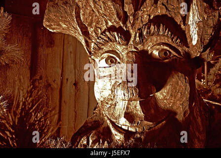 art wood giant ghost monster mysterious dwarf scandinavia carved troll - Stock Photo