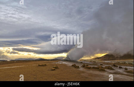 Icelandic Geotherrmals in the North of Iceland neat to Myvatn - Stock Photo
