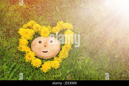 Cookies with smile symbol on a background of green grass in a wreath in the shape of a heart of dandelions in the - Stock Photo