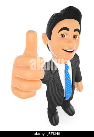 3d business people illustration. Businessman with thumb up. Isolated white background. - Stock Photo