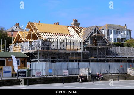 Padstow, Cornwall, UK - April 6th 2017: Building works taking place near the harbour in the Cornish seaside town - Stock Photo