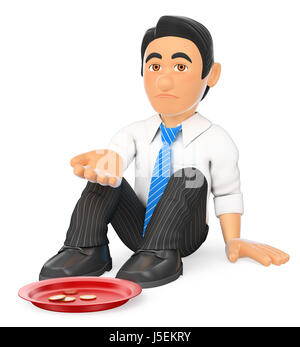 3d business people illustration. Businessman sitting on the floor begging for money. Isolated white background. - Stock Photo