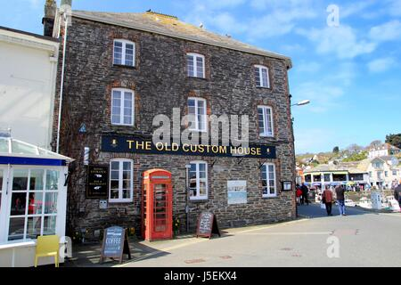 Padstow, Cornwall, UK - April 6th 2017: The 'Old Custom House' hotel in the Cornish seaside town of Padstow - Stock Photo
