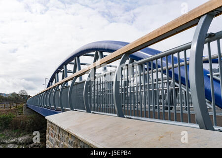 The 63 metre long, 18 metre wide bridge to Arena Island, close to Bristol Temple Meads Station.  The bridge is officially - Stock Photo