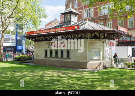 TKTS Official London theatre ticket booth in Leicester Square in London's West End - Stock Photo