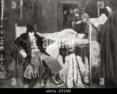 Ivan the Terrible beside the body of his son and heir Ivan Ivanovich (1554 - 1581) whom he struck and killed in - Stock Photo
