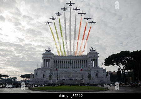 Italian 'Frecce Tricolori' during the celebration of 'Giornata dell'Unità Nazionale e delle Forze Armate' in Rome, - Stock Photo