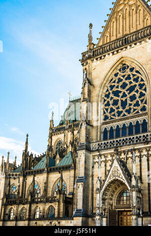 New dome gothic cathedral in Linz, Upper Austria, main portal view, architectural details, tourist attraction, famous - Stock Photo