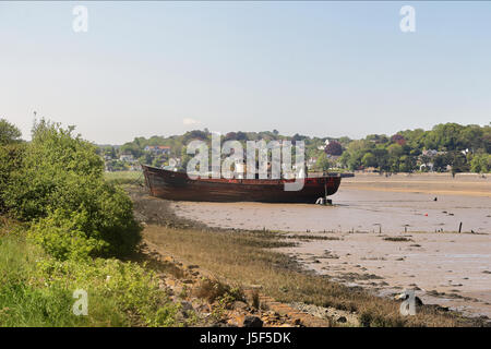 Beached wreck on the Tidal River Torrington in North Devon - Stock Photo