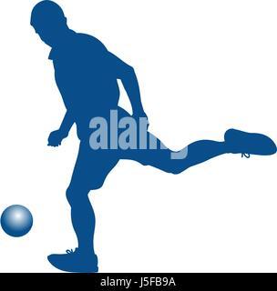 Silhouette of soccer player striking the ball - vector illustration - Stock Photo