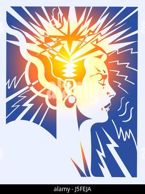 Female head illustrating brainstorm - Stock Photo