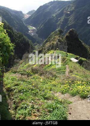 mountains hike go hiking ramble portugal madeira scenery countryside nature - Stock Photo