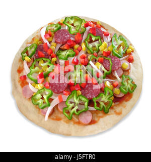 frisch finished yet unbaked pizza - Stock Photo