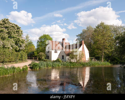 Willy Lott's Cottage outside in flatford mill in constable country old and famous location building from a painting - Stock Photo