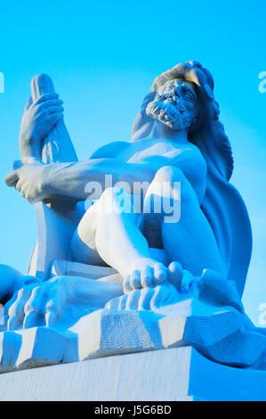 legs blue statue marble classical poor man sculpture arm firmament sky - Stock Photo