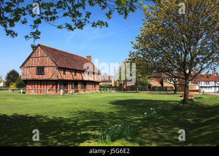 Spring, the Moot Hall; Elstow village; John Bunyans birthplace; Bedfordshire, England, UK - Stock Photo