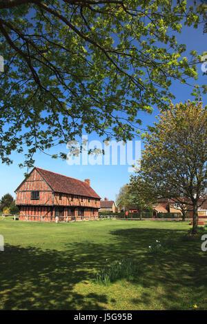 Spring, the Moot Hall; Elstow village; John Bunyans birthplace; Bedfordshire, England, UK - Stock Photo
