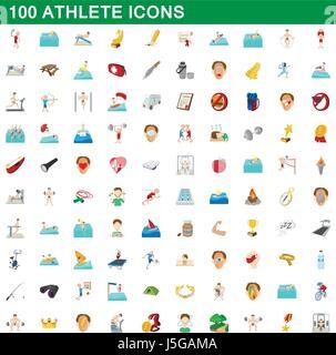 100 athlete icons set, cartoon style - Stock Photo