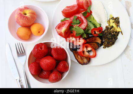Breakfast - fresh strawberries on table - Stock Photo