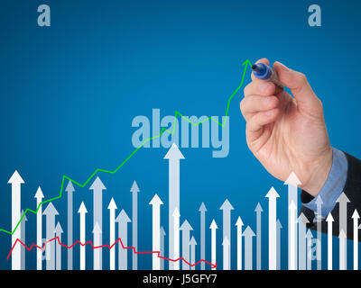 Businessman hand drawing graph of growth on visual screen. Man holding pencil. Business growth, technology, internet - Stock Photo