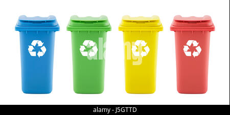 Four colorful recycle bins isolated on white background - Stock Photo