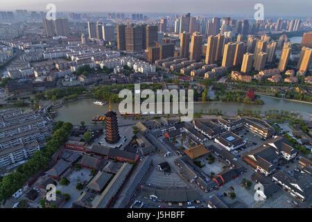 Huai'an, China. 17th May, 2017. Aerial photography of Qingjiangpu Scenic Area in Huai'an, east China's Jiangsu Province, - Stock Photo