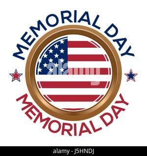 Memorial Day design. Golden round medallion - Stock Photo