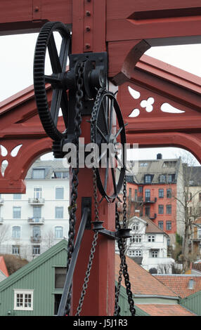 Detail of the mechanism to raise Gamle Bybro, or Bybroa ,  the Old City Bridge over the river Nidelva in Trondheim. - Stock Photo
