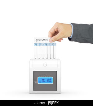 Hand putting paper card in time recorder machine with clipping path - Stock Photo