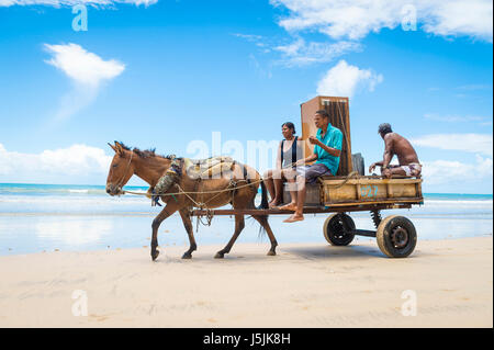 BAHIA, BRAZIL - MARCH 11, 2017: A mule pulls a cart loaded with a refrigerator and two people traveling along the - Stock Photo