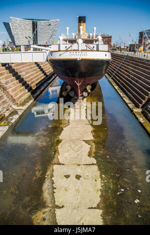 The SS Nomadic and Titanic Belfast museum Northern Ireland UK - Stock Photo