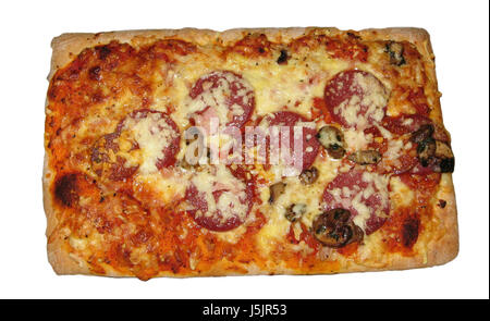 pizza mushrooms cheese spices calories pasta ham frozen food occupied baked - Stock Photo