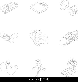 Active sports icons set, outline style - Stock Photo