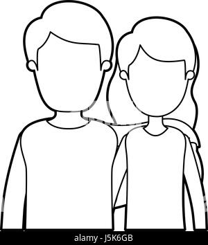 black thick contour caricature faceless half body couple woman with short wavy hair and man - Stock Photo
