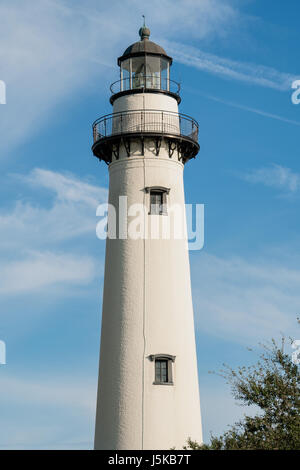 St. Simons Island Lighthouse bathed in late afternoon golden light, St. Simons Island, Georgia - Stock Photo