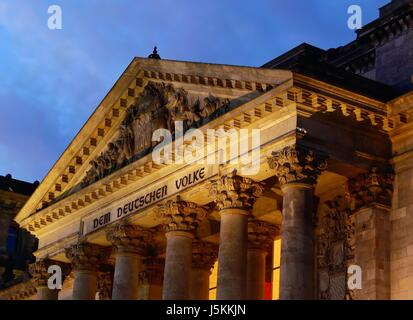 reichstag in the early evening - Stock Photo