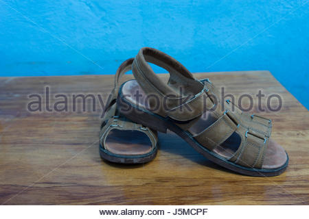 A pair of custom-made sandals from a Nicaraguan shoemaker - Stock Photo