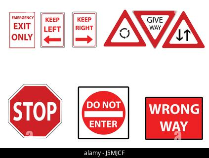 a set of assorted street signs in red - Stock Photo