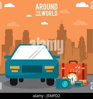 around the world. car vehicle baggage clock credit card with city background - Stock Photo